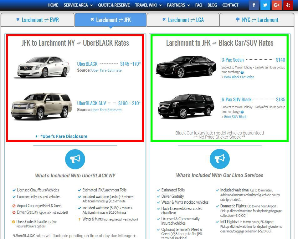 Jfk Airport To Or From Larchmont Ny Black Car Service And Services
