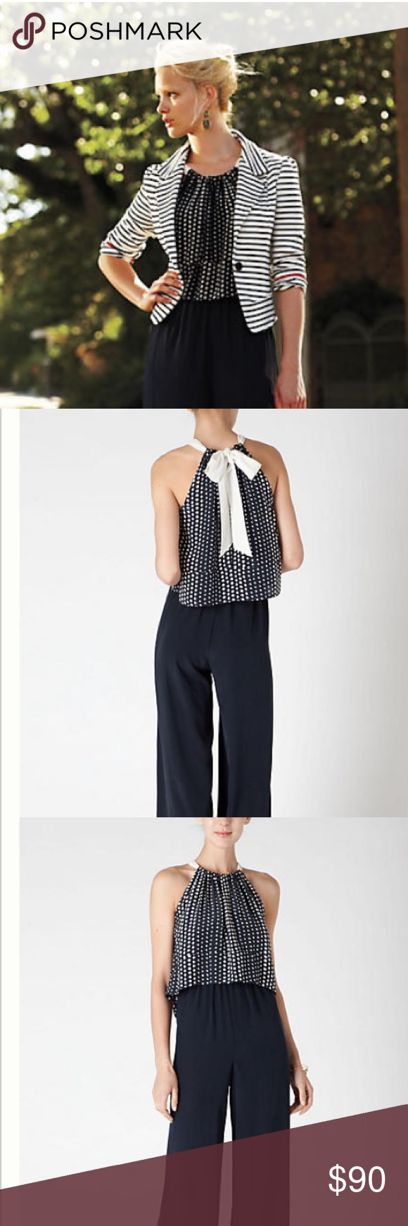 Anthropologie Strung Dots Romper Navy lightweight jumpsuit   Polka dot overlay with a tie in the back to create a halter look. Wide legs, elastic waist. Bought at Anthropologie in NYC. Worn once Anthropologie Pants Jumpsuits & Rompers