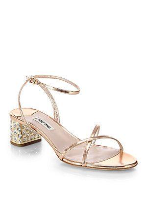 Miu Miu Metallic Crystal Block-Heel Sandals XOXTXU