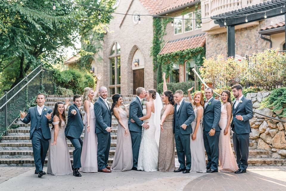 Navy Suits For Groomsmen And Mismatched Blush Dress For Bridesmaids Query Events Bridesmaid Dresses Blush Dresses Wedding Styles