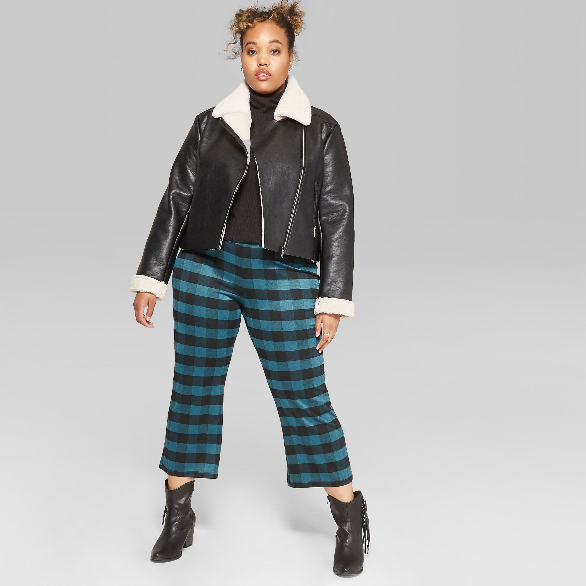 10bf532611 Women s Plus Size Plaid Cropped Kick Flare Borrowed Pants - Wild Fable Teal  3X