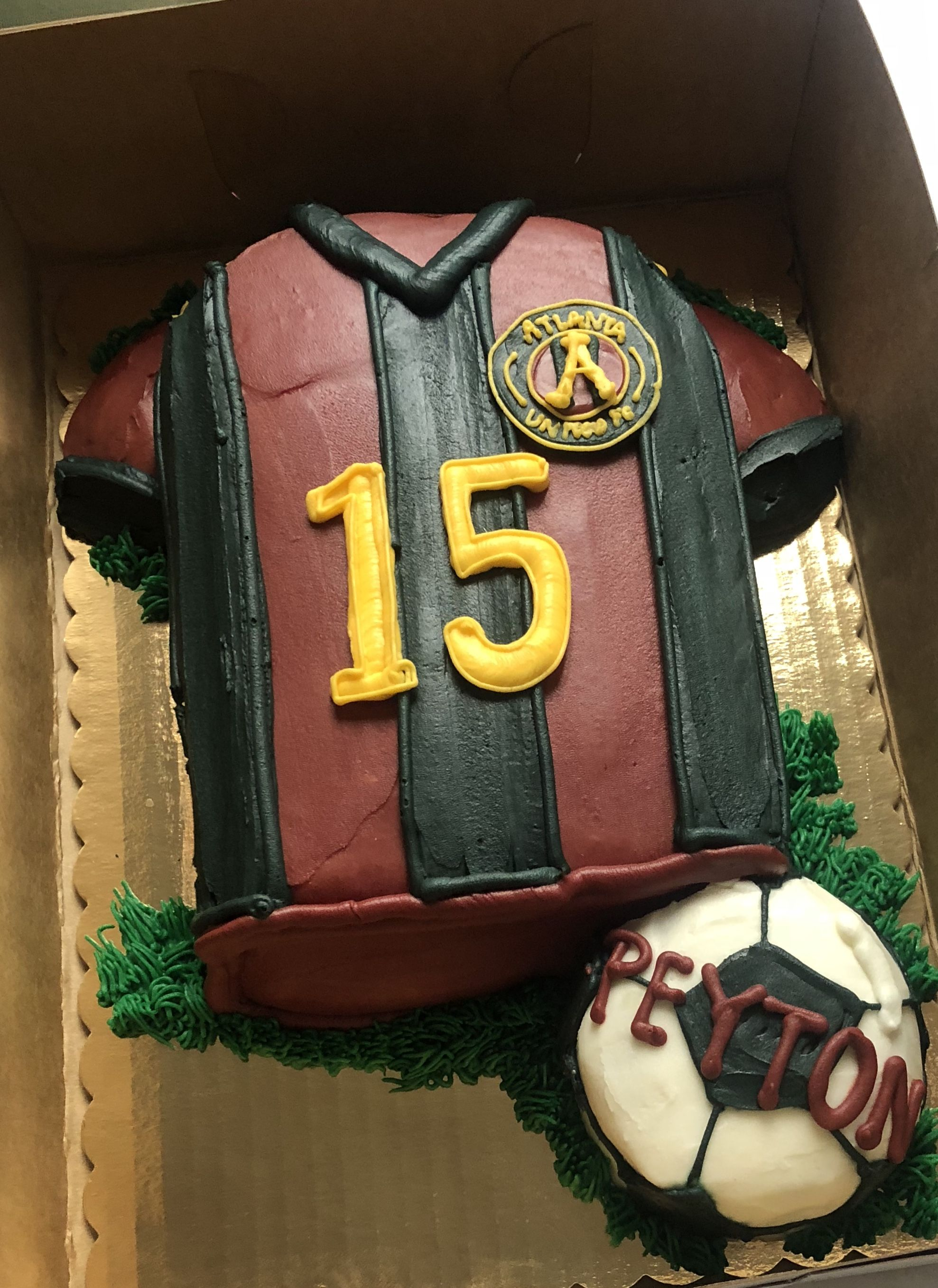Fantastic Atlanta United Soccer Cake Soccer Birthday Parties Atlanta Funny Birthday Cards Online Sheoxdamsfinfo