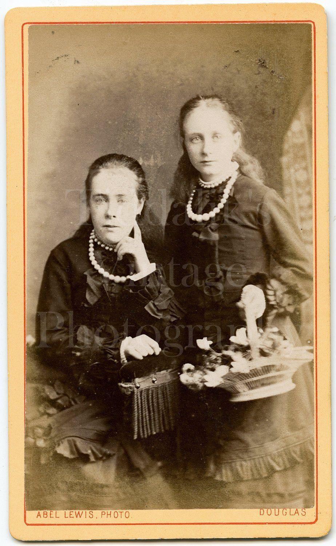 CDV Photo Victorian 2 Pretty Girls Sisters Basket Flowers Portrait Abel Lewis Douglas Isle Of Man Antique 1880s Carte De Visite