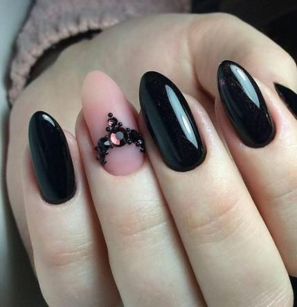 nails black acrylic ring finger 40 ideas nails in 2020