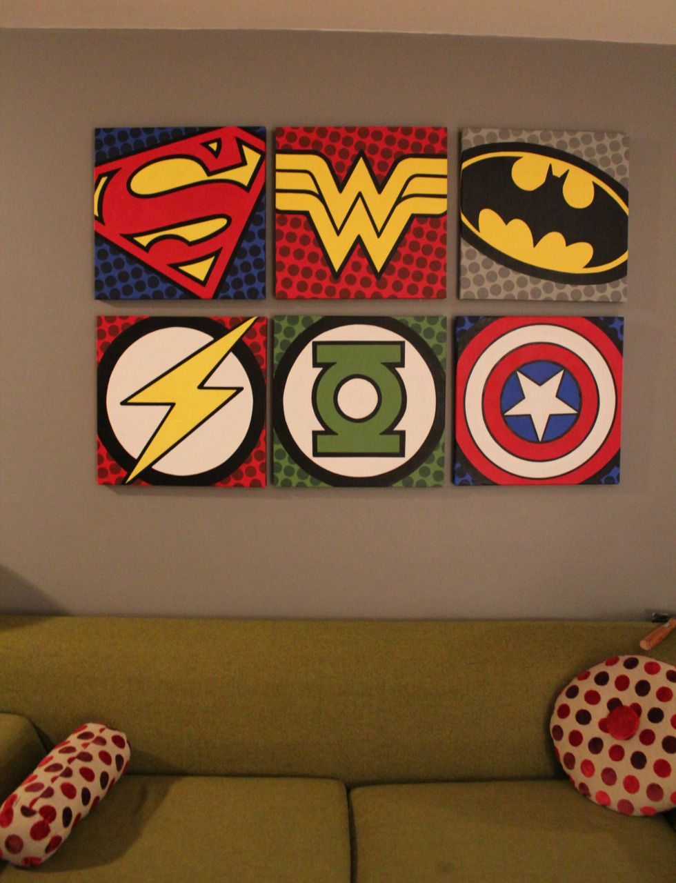 Pop Comic Art Paintings Posts Tagged Acrylic Painting Canvas Super Hero Superman Batman Wonderwoman Flash Green Lantern Captain Americam