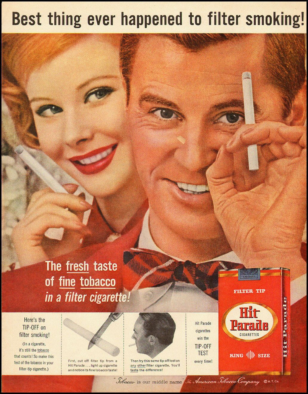 1959 Vintage Tobacco Ad Hit Parade Filter Tip Cigarettes 122012 Advertising Ads Old Advertisements