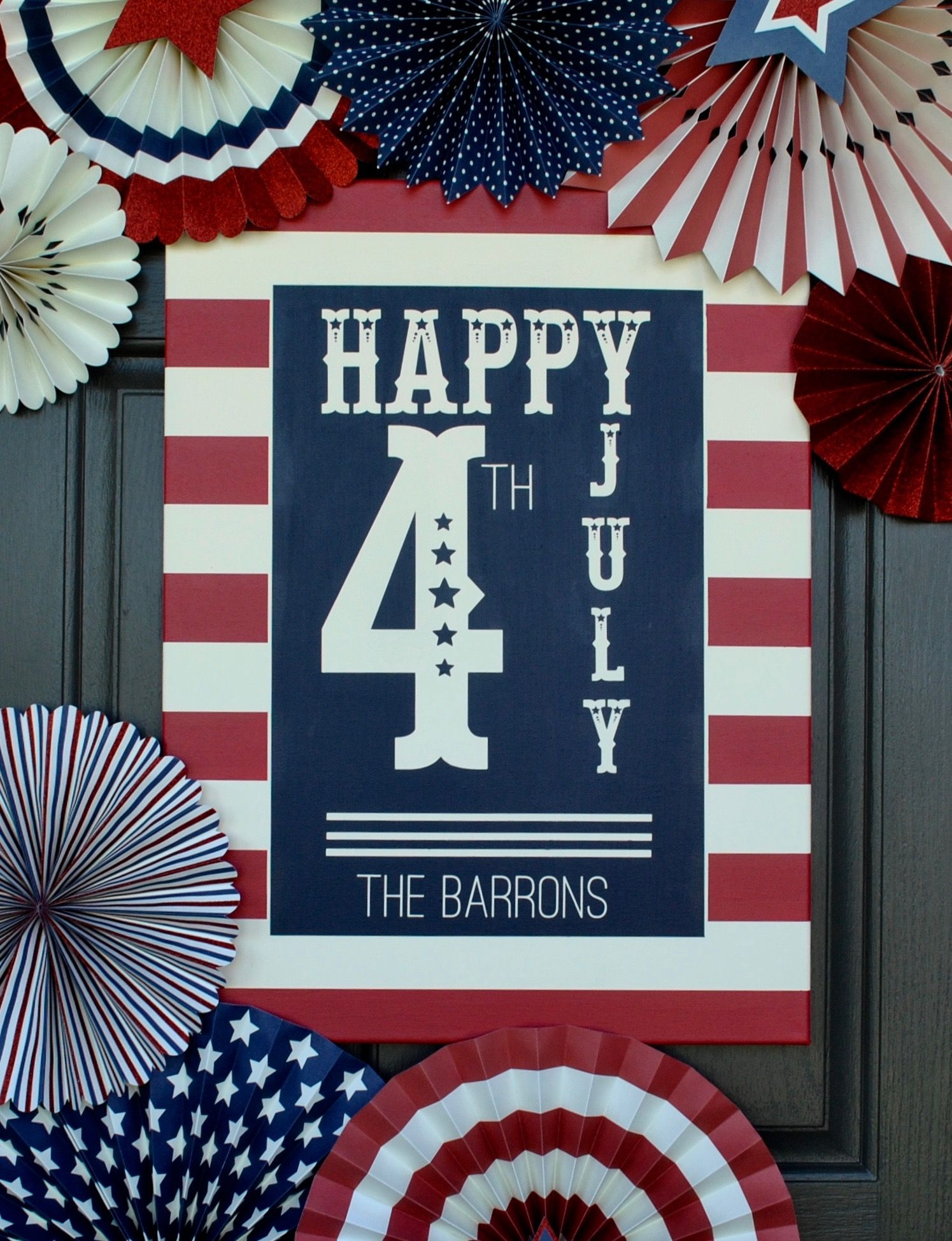 July Fourth Celebration Custom Family Name Canvas Holiday 4th Of