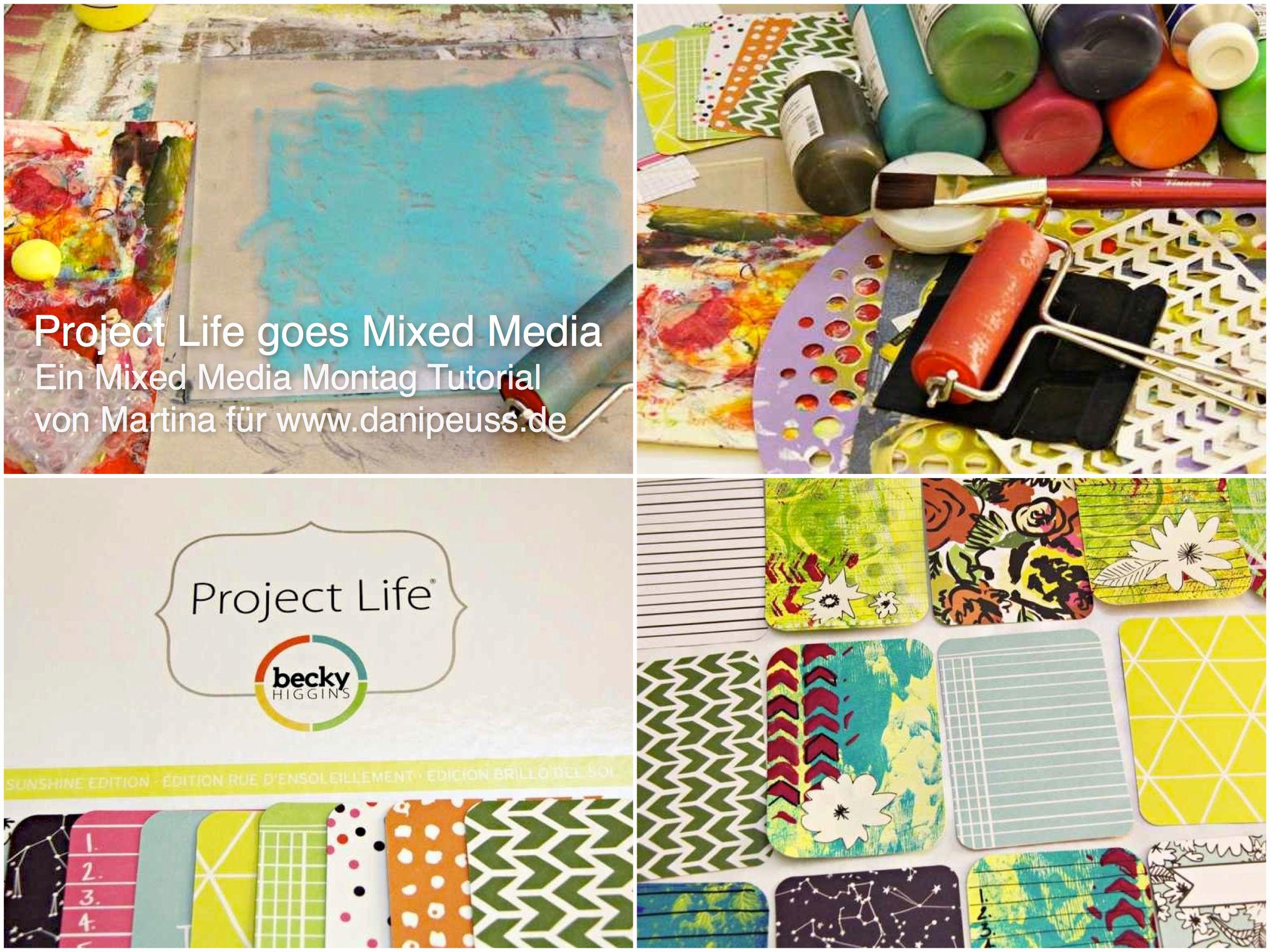 #MixedMediaMontag Tutorial von Martina für www.danipeuss.de | ProjectLife Karten passend zum Sunshine Core Kit