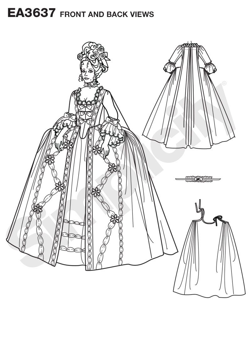 Misse's costume gown pattern. Once selected, we custom print pattern and instructions on one sheet of durable premium paper. Pattern is then hand packaged and shipped directly to your doorstep.