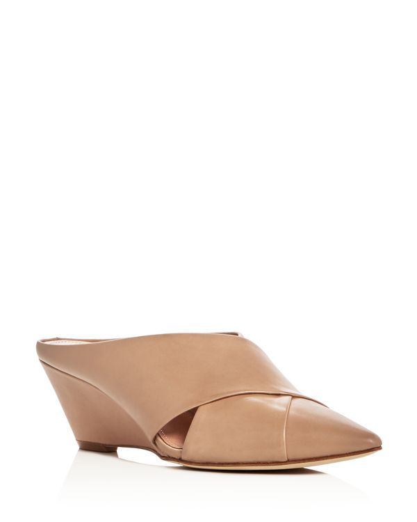 Sigerson Morrison Wesley Pointed Toe Wedge Mules