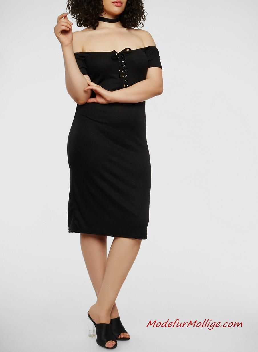Schnür dich vom Schwarze Schulterfrei Kleid für Mollige ...
