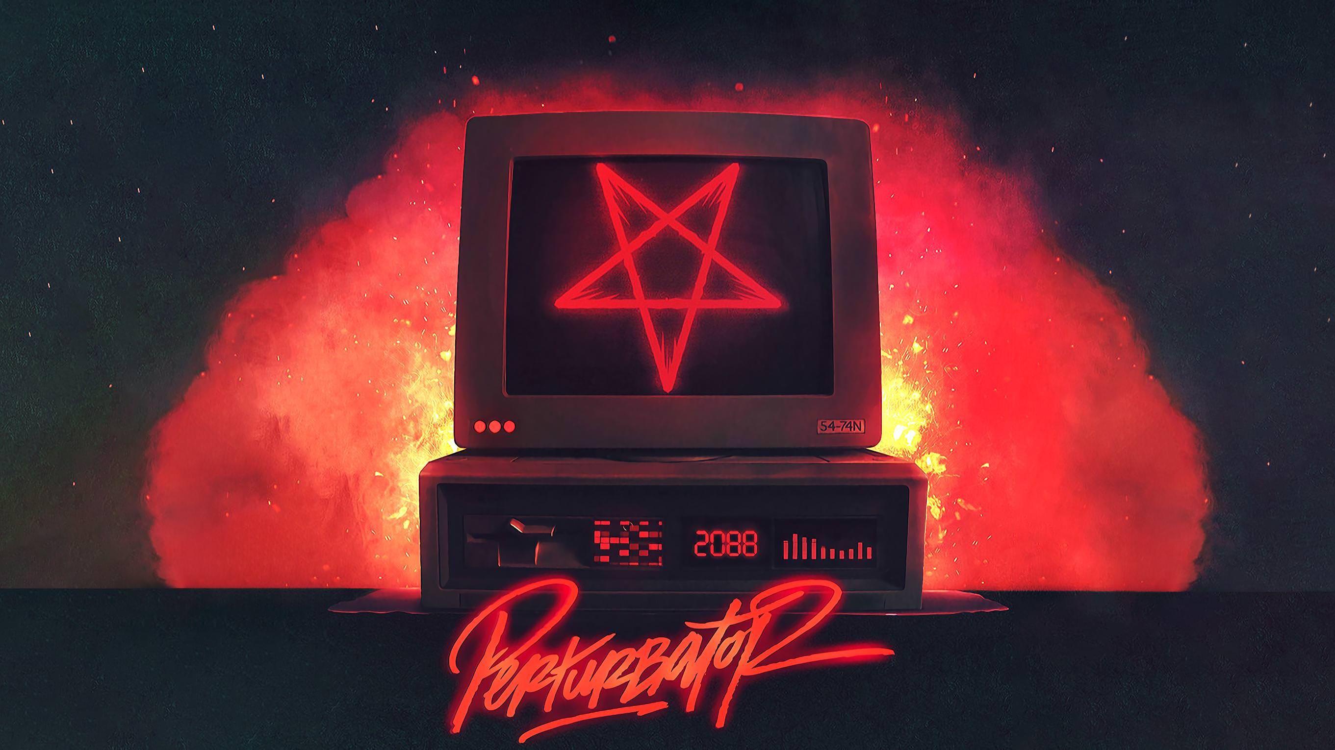 Perturbator Satan Is A Computer Wallpaper Pc Satan Computer Wallpaper
