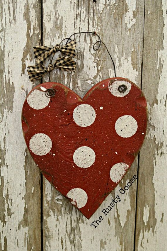 Valentines Day Decor Wood Heart Polka Dot Valentine Door Hanger Polka Dot Heart Red Heart Ru Valentine Wood Crafts Valentine Crafts Valentine Decorations