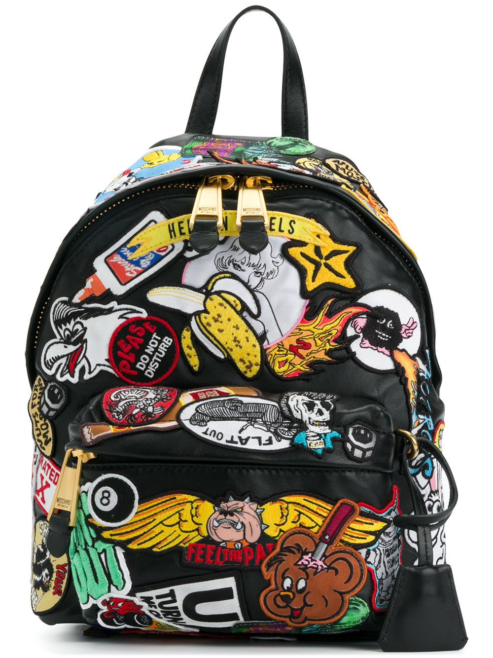 3f52783f7bf Moschino patch embellished backpack Moschino Bag, Designer Backpacks, Cool  Backpacks, Patched Backpack,