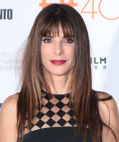 Sandra Bullock Long Straight Casual Hairstyle With Blunt Cut Bangs   Dark  Brunette (Mocha)