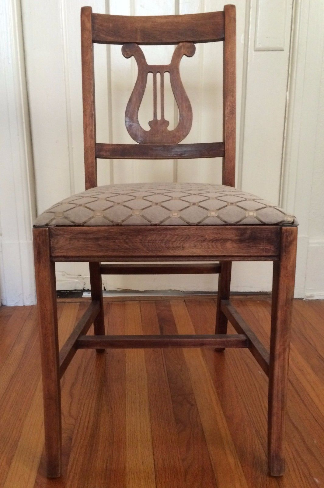 Antique Wood Chair Carved Back Fabric Seat