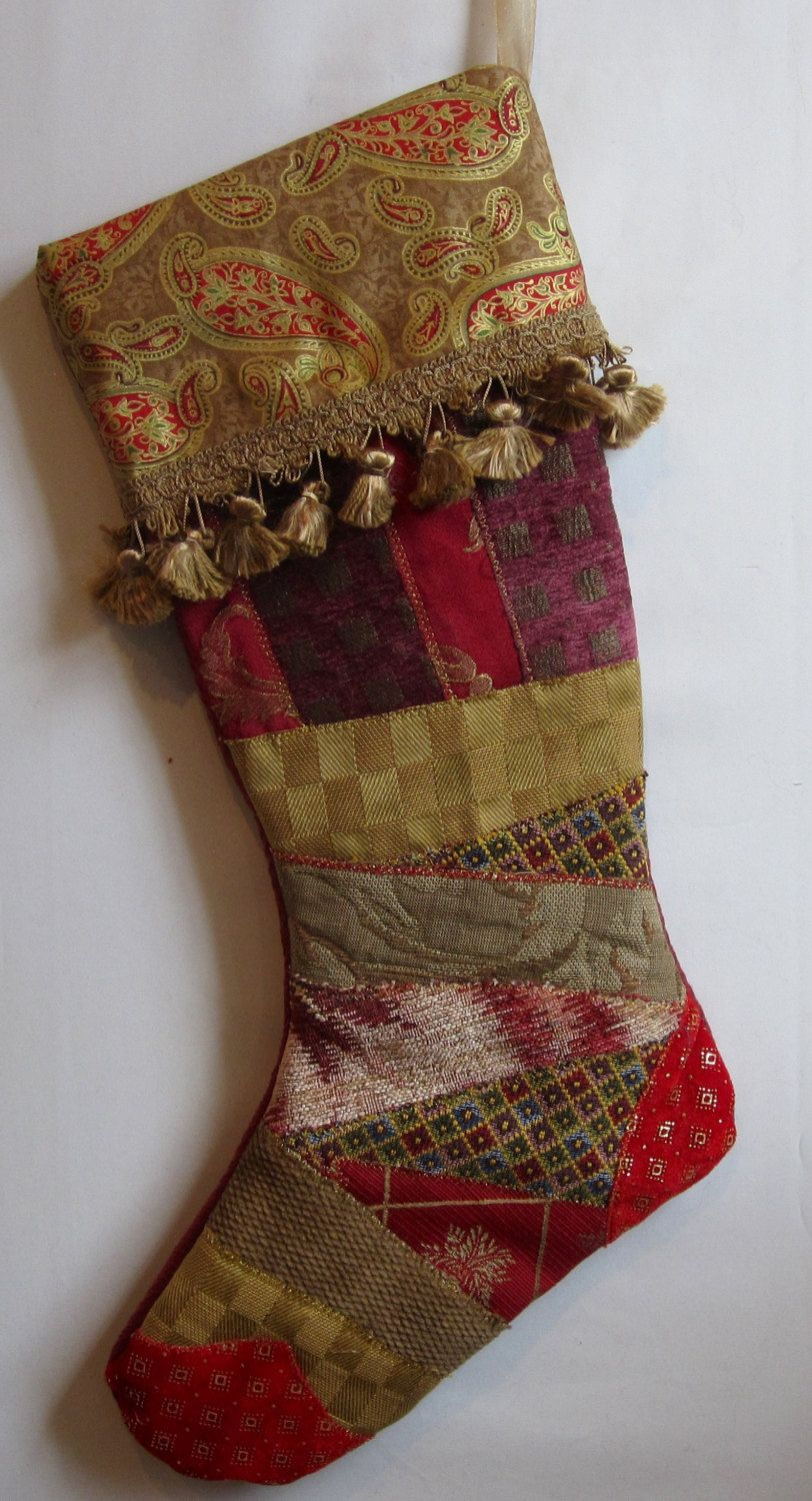 elegant christmas stocking with fancy trim fabric art crazy quilt patchwork in reds and golds by bjelvgren on etsy