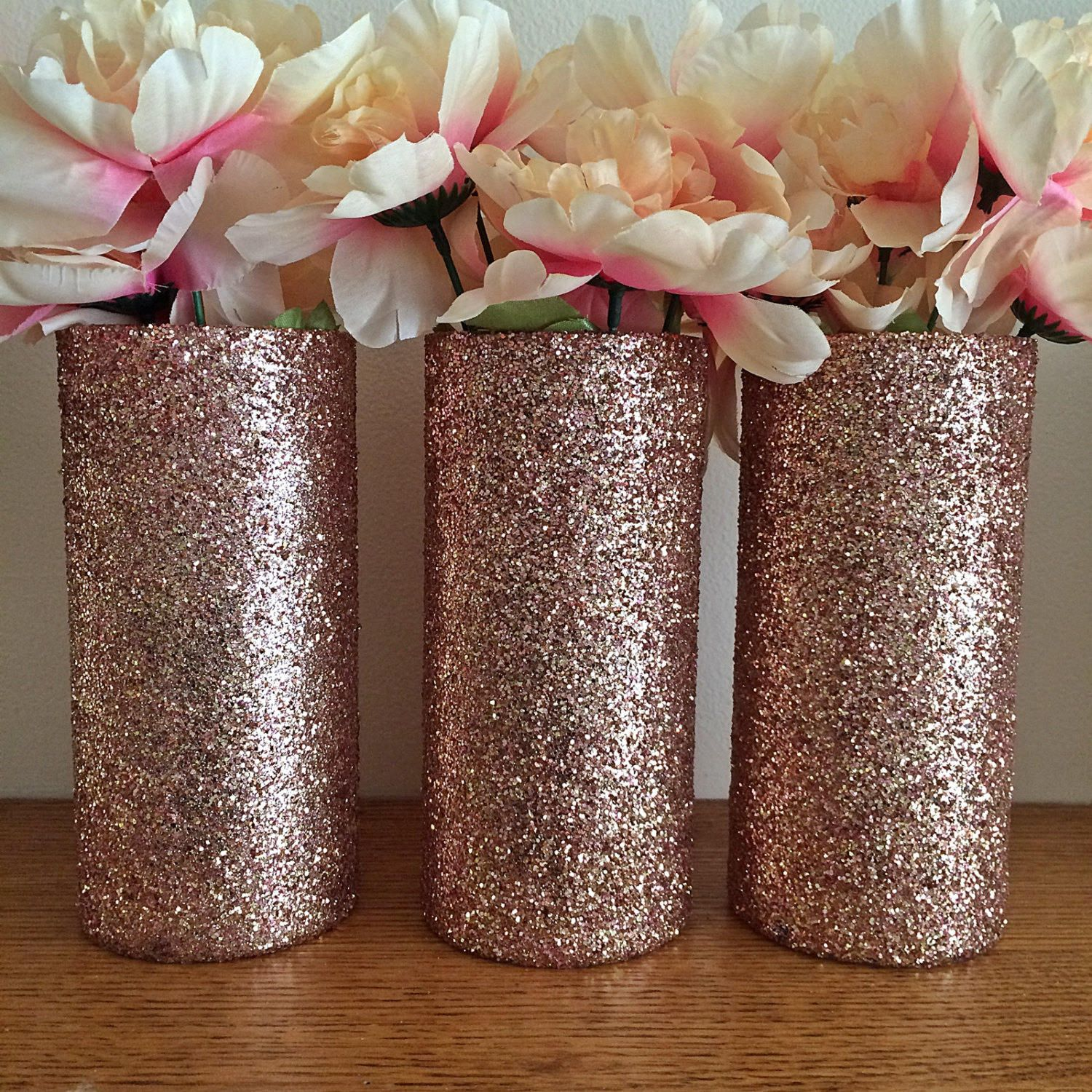 Set of 15 Glass Vases Rose Gold Vases Wedding Centerpieces Rose