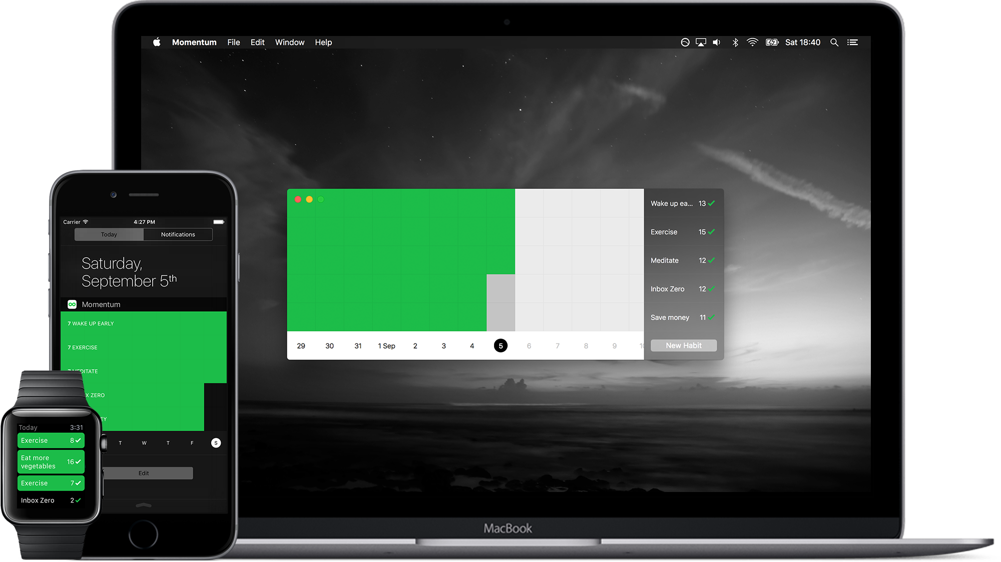 Momentum Habit Tracker for iPhone, Apple Watch & Mac (с