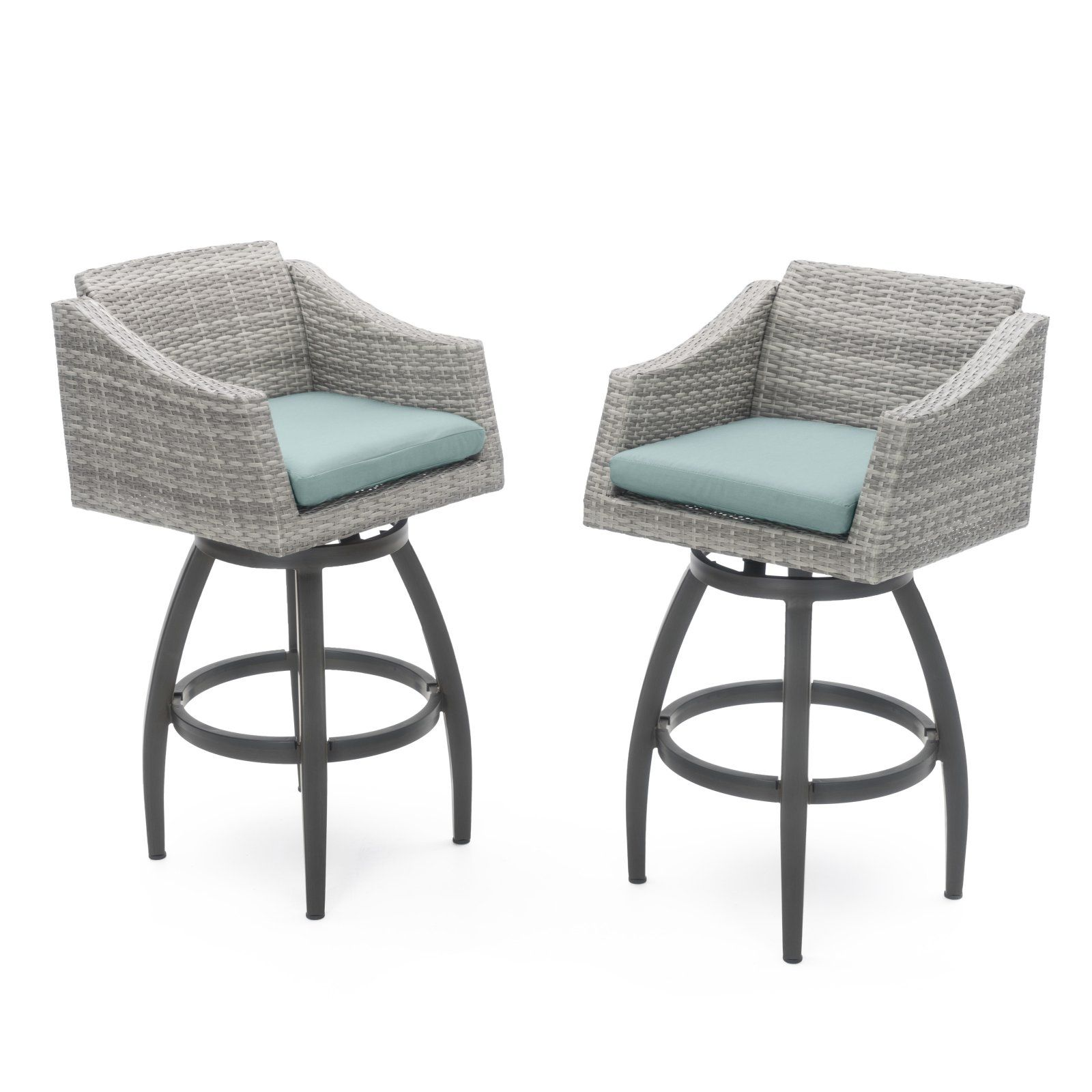 outdoor rst cannes wicker swivel patio barstools set of 2 rh pinterest com