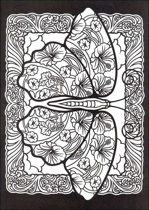 Fanciful Butterflies Stained Glass Coloring Book | Coloring Pages ...