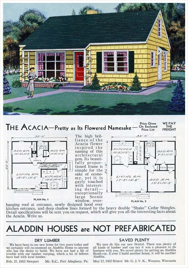 Aladdin Homes Acacia 1953 Cape Cod House Plans Vintage House Plans House Floor Plans