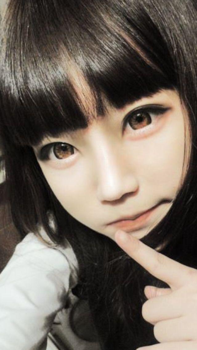 Ulzzang Large Doll Eyes Long Dark Hair Ulzzang
