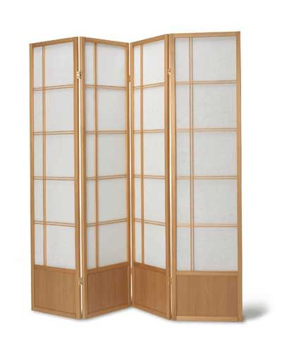 Fuji Screen Delicate Japanese Style Screen In A 4 Panel Construction In Natural And Black 109 Shoji Screen Shoji Screen Room Divider Room Divider Screen