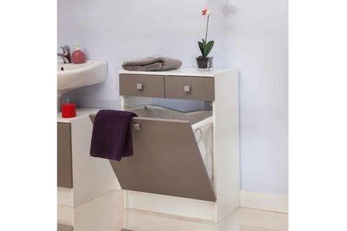 Rangement salle de bain avec tiroirs et bac à linge banio - taupe en