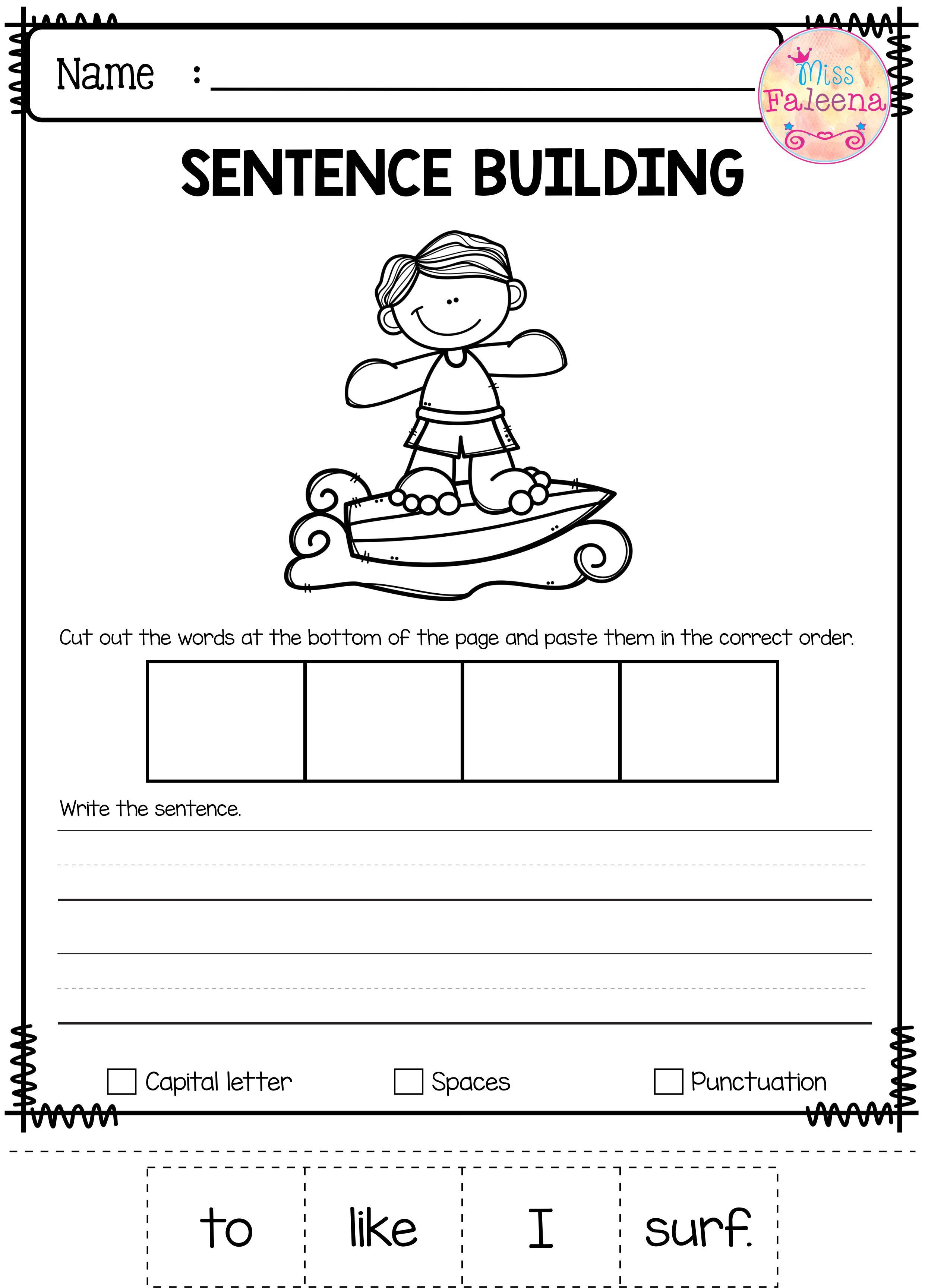 June Sentence Building Has 30 Pages Of Sentence Building