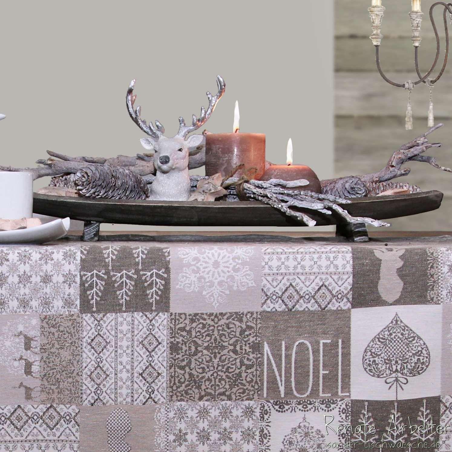 rustikale holzschale mit hirsch holz und gebleichten tannenzapfen tischdecke noel von sander. Black Bedroom Furniture Sets. Home Design Ideas