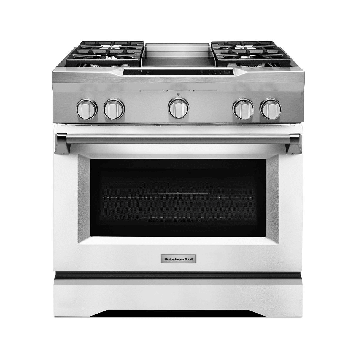 Kitchenaid Kdrs463vmw Imperial White 36 Inch Wide 5 1 Cu Ft Slide In Natural Gas Range With Griddle Dual Fuel Ranges Kitchen Aid Oven Cleaning