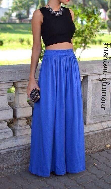 Tops cortos y faldas largas un buen outfit!!!