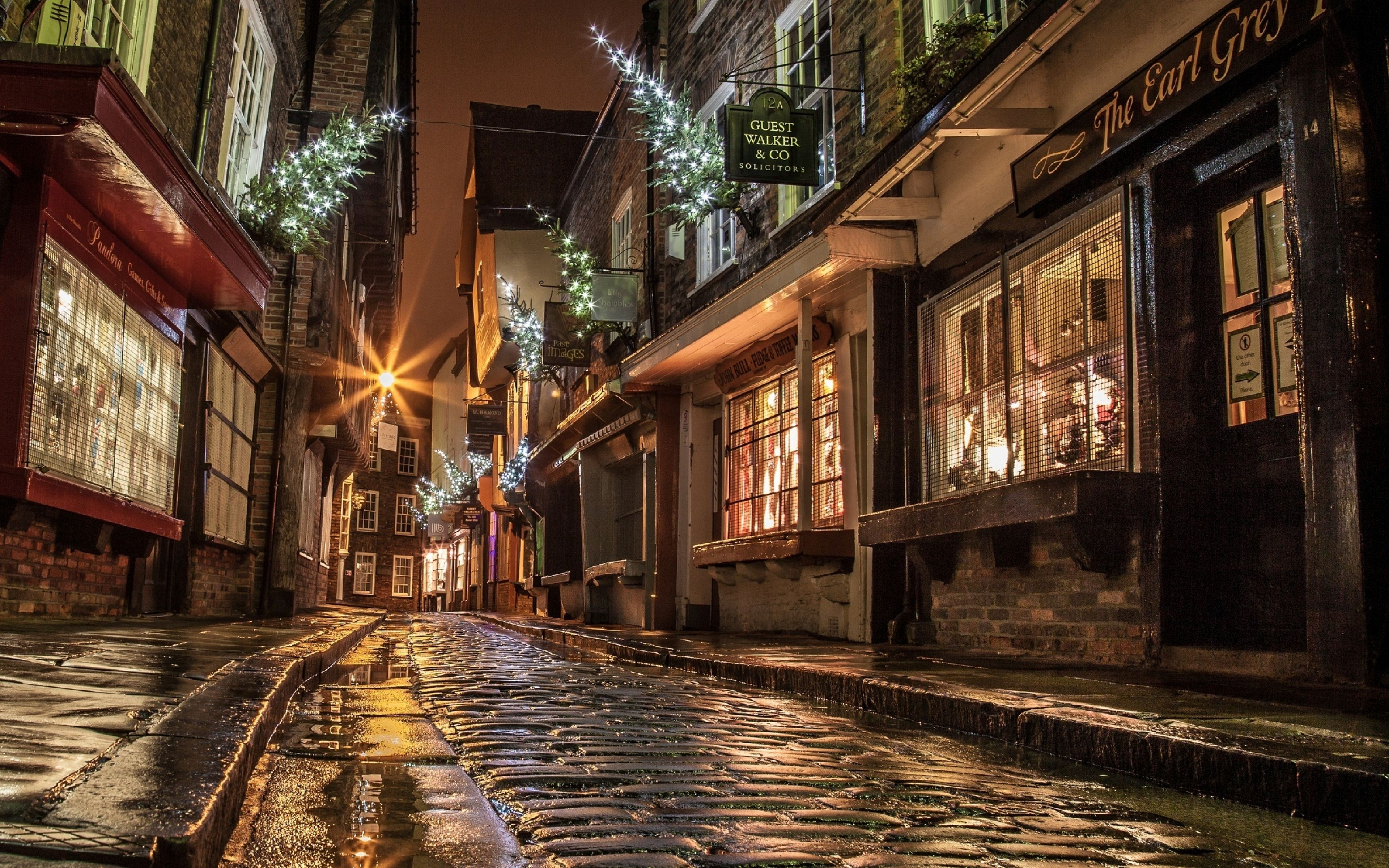 Lights Shopping Evening Night England Christmas New Year Christmas In England House Viewing Street House