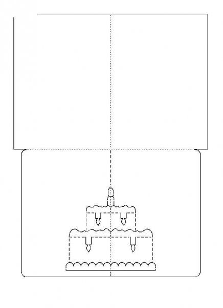 How to DIY 3D Kirigami Greeting Cards with Templates Kirigami - birthday cake card template