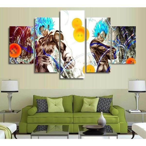 5 Panels Wall Art Dragon Ball Z Goku Saiyan Paintings Art Canvas