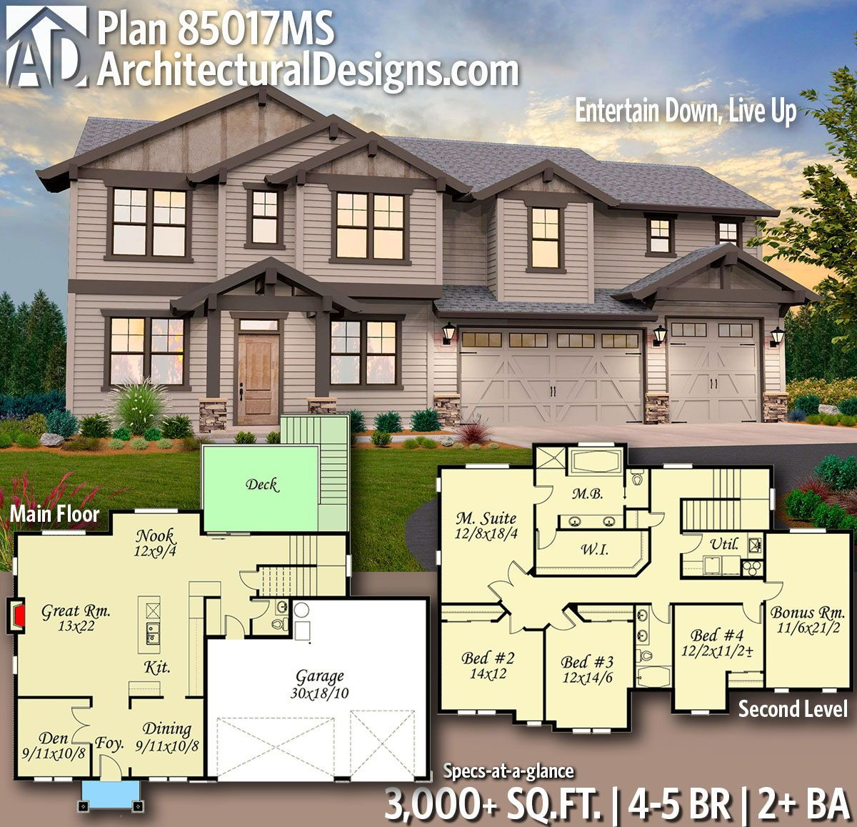 Plan 85017ms Entertain Down Live Up Architectural Design House Plans Craftsman House Plans New House Plans