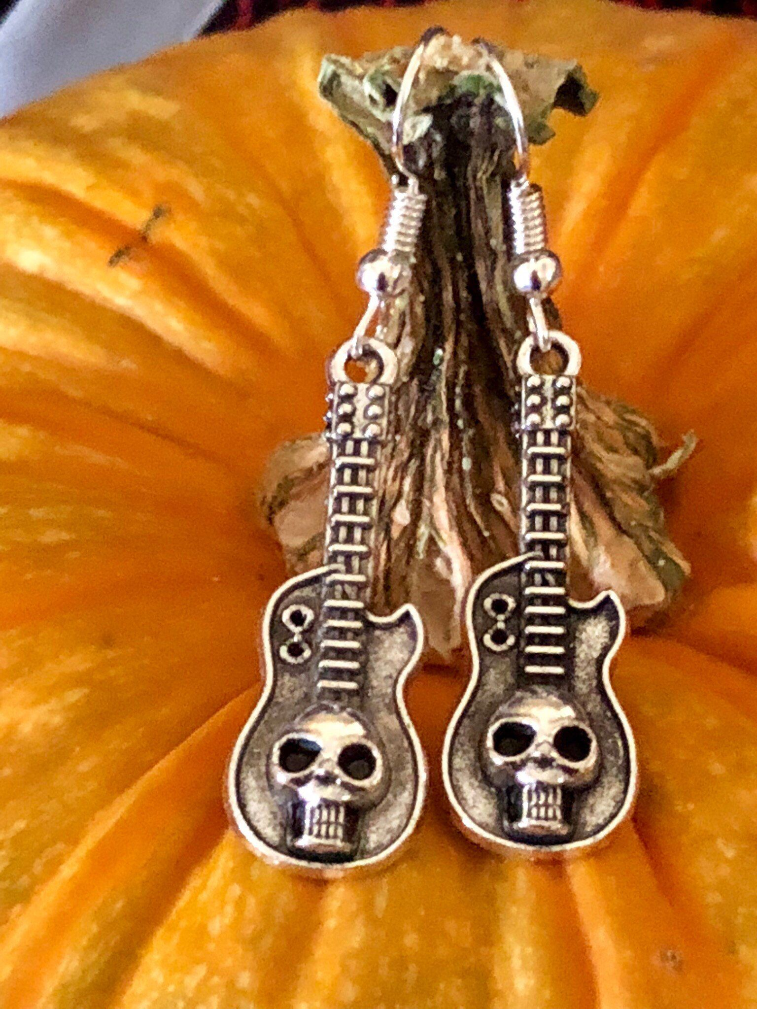 excited to share this item from my etsy shop skull on guitar silver tone dangle drop earrings fish hook ear wires silver tone [ 1536 x 2048 Pixel ]