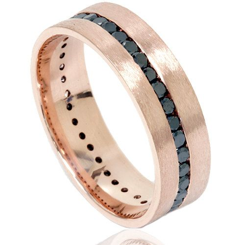 Rose Gold 1 50ct Black Diamond Channel Set 8mm Brushed Wedding Ring Band Mens Size