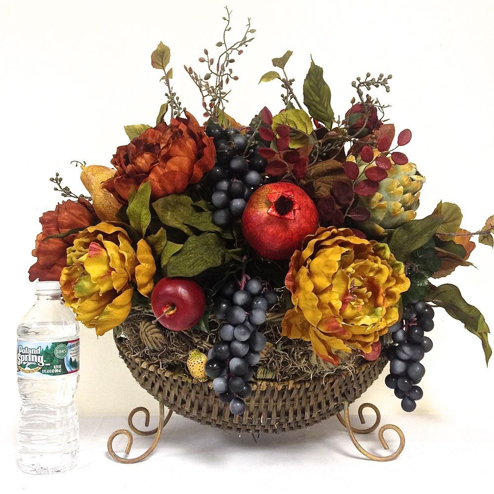 Tuscan Williamsburg Silk Floral Fruit Arrangement Dining Table Free Ship Large Fall Floral Arrangements Floral Decor Fall Flower Arrangements