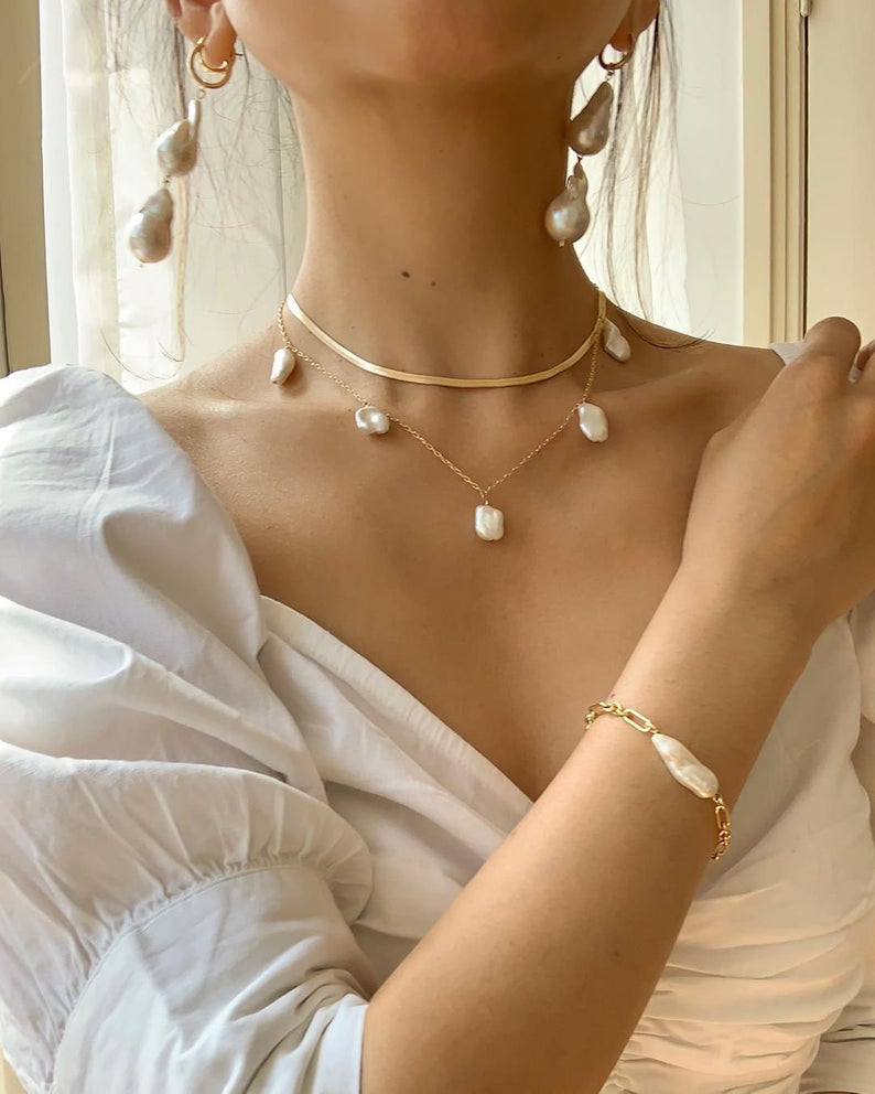 Photo of Keshi Pearl Gold Filled Necklace, Boho Wedding Jewelry, Boho Pearl Necklace, Freshwater Pearl Necklace, Bridal Jewelry Pearl Choker