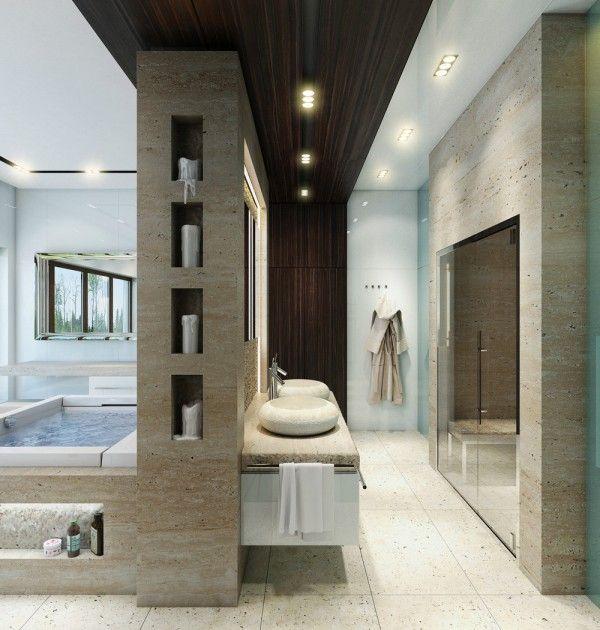 Une très grande baignoire (parfaite pour un bain à deux) est ...