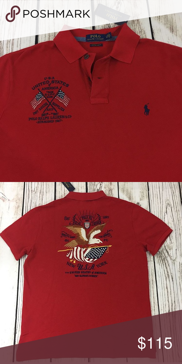 2a43aed4 Embroidered Polo Shirts, Polo Horse, American Flag, Polo Ralph Lauren,  Eagle,