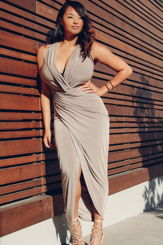 1121be5e2bd004 Plus Sexy Deep V-neck Waist Irregular Sleeveless Split Ends Dress ...