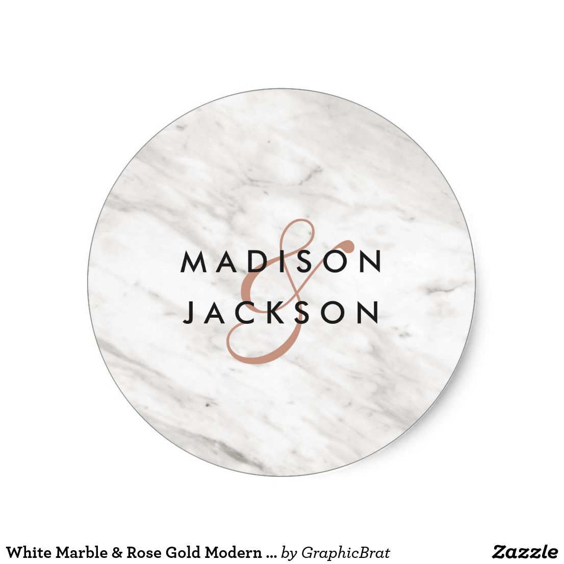 White Marble & Rose Gold Modern Monogram Wedding Classic Round ...