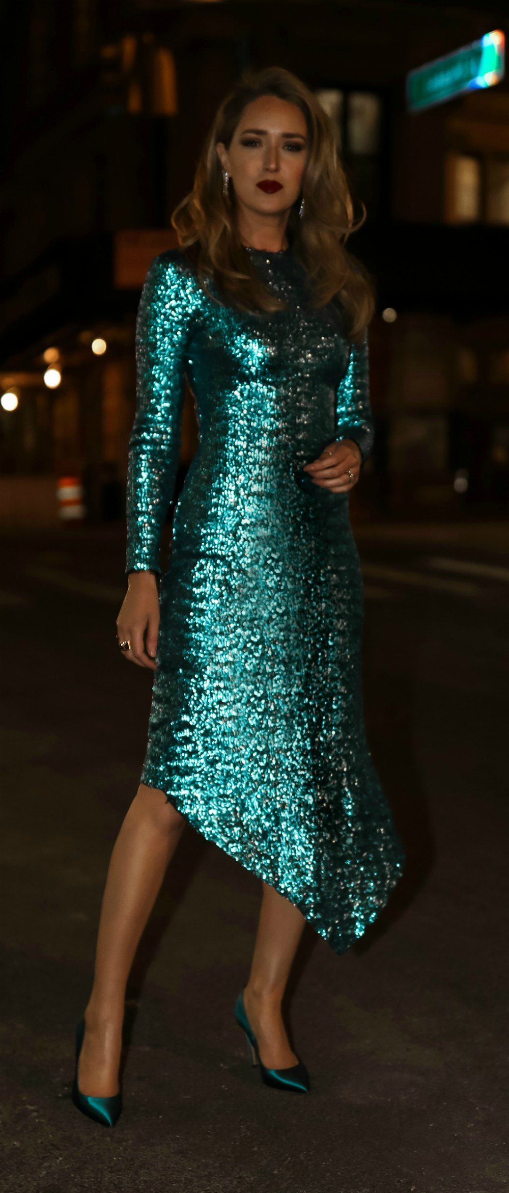 df9b108e251b7 30 Dresses in 30 Days | Day 24: New Year's Eve // Teal sequin sheath dress  with asymmetrical hem, teal suede pumps, silver diamond drop  earrings{Thornton ...