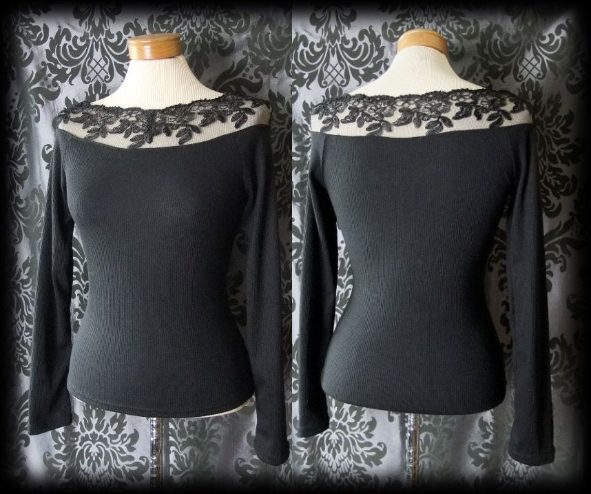 Goth Black Fitted Lace Neckline DIABOLIC Long Sleeve Top 8 10 Victorian Vintage