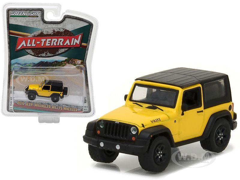 Scale Model 2015 Jeep Wrangler Willys Wheeler Yellow All Terrain