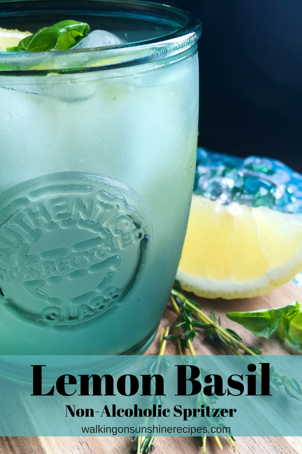 Lemon Basil Mint Spritzer Non-Alcoholic Drink with Fresh Ginger