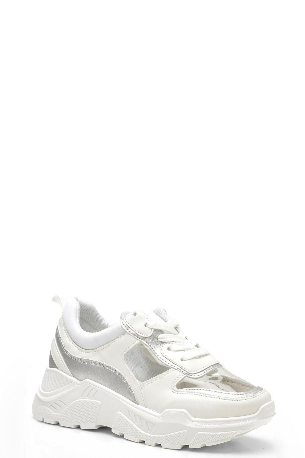 38c579d1f Clear Panel Chunky Sneakers in 2019 | shoes | Sneakers, Trainers, Boohoo